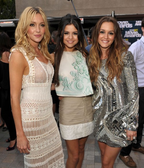 Katie Cassidy, Selena Gomez and Leighton Meester at the MTV Movie Awards 2011. Their movie 'Monte Carlo' hits theaters July 1, 2011.