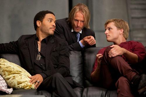 The Hunger Games: Lenny Kravitz (Cinna), Woody Harrelson (Haymitch) and Josh Hutcherson (Peeta)