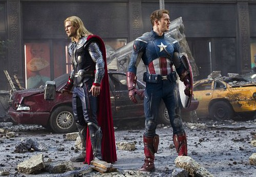 The Avengers 2012: Chris Hemsworth (Thor) and Chris Evans (Captain America)