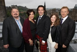 Robbie Coltrane, Mark Andrews (director), Kelly Macdonald, Kevin McKidd and Katherine Sarafian (producer) at a Brave event