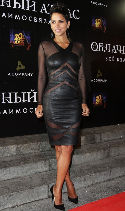 Halle Berry Leather See-Through Dress