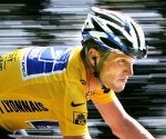 Lance Armstrong Riding a Giant Syringe
