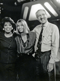 "Oprah Winfrey, Melissa Jo Peltier, and Arnold Shapiro on the set of ""Scared Silent: Exposing and Ending Child Abuse"""