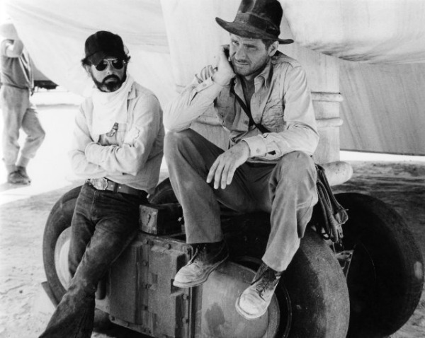 Steven Spielberg and Harrison Ford
