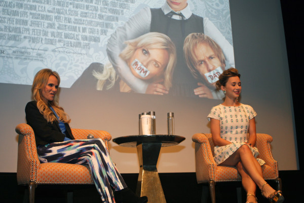 "Kristin Chenoweth and Olyesa Rulin at a press conference in New York about their film, ""Family Weekend"""