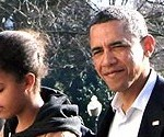 President Barack Obama in Step With Daughter Malia