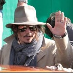 Johnny Depp Waves to Crowds in Italy