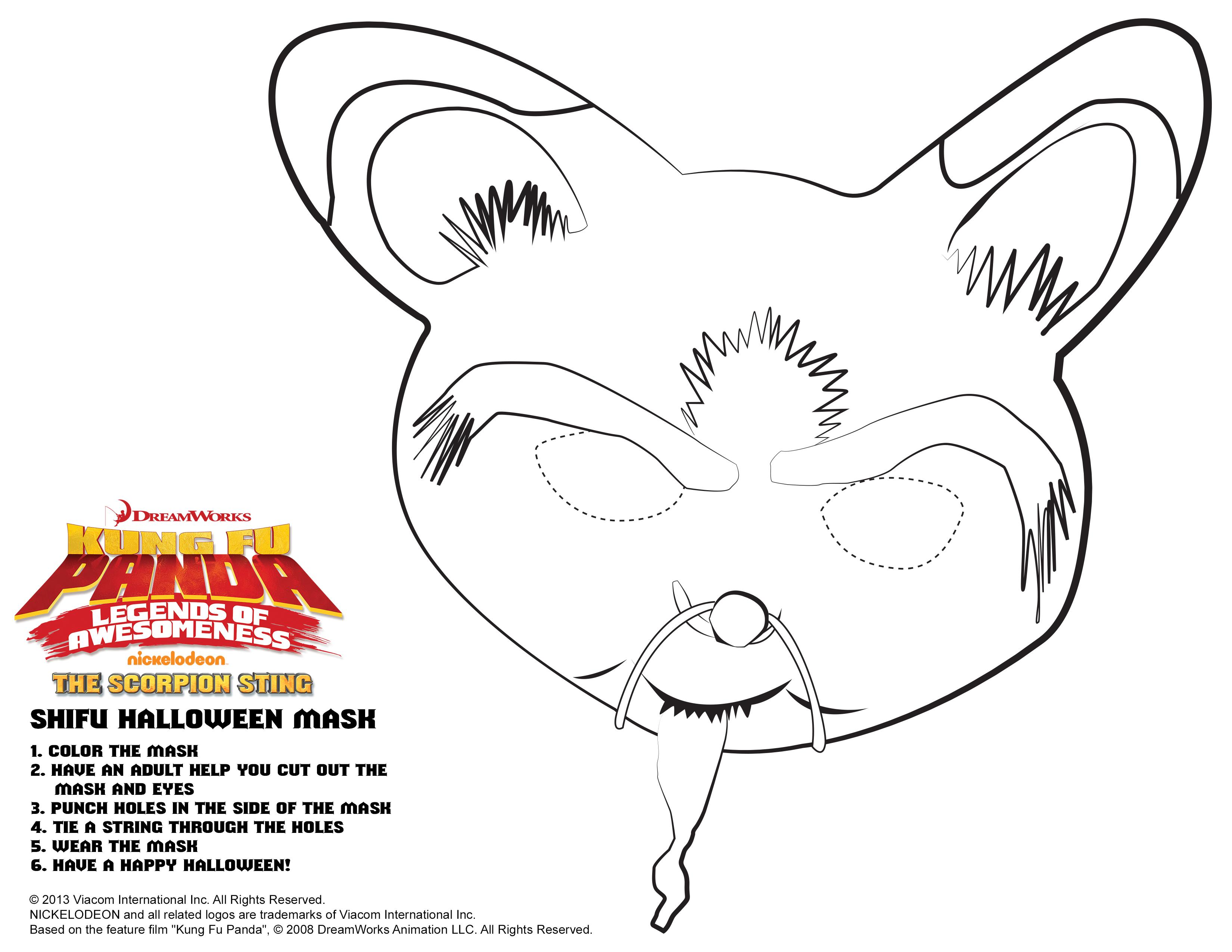 Printable coloring pages kung fu panda 2 - Kung Fu Panda Shifu Halloween Mask