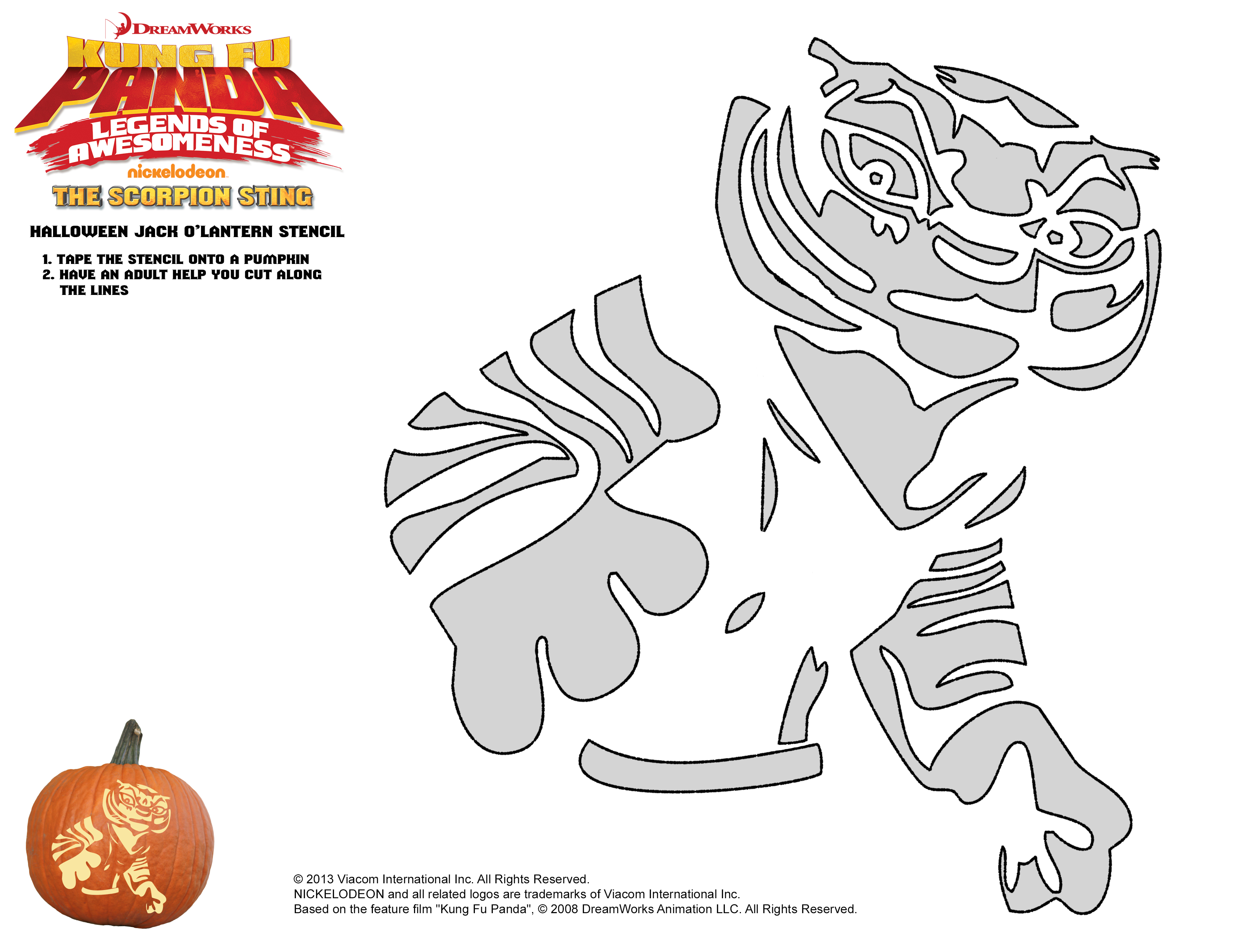 kung fu panda tigress template for pumpkin carving - Kung Fu Panda Halloween