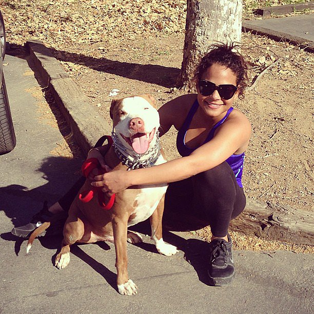 Photo of Christina Milian & her Dog Yorkshire Terrier
