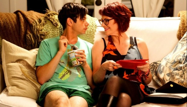 "Paul Iacono and Megan Mullally in ""G.B.F."""