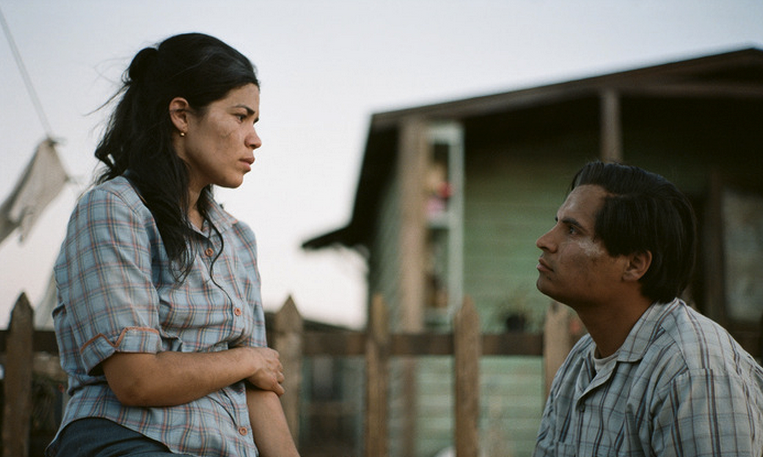 "America Ferrera and Michael Pena in ""Cesar Chavez"""