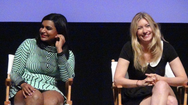 Mindy Kaling and Liz Meriwether share a laugh at Fox's Girls Night Out panel.