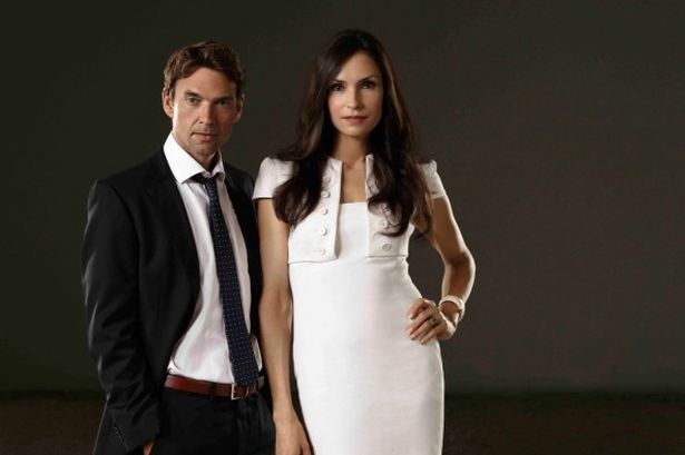 "Dougray Scott and Famke Janssen of ""Hemlock Grove"""