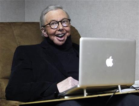 Roger Ebert in his later years after thyroid cancer had robbed him of his speaking voice but not his computer, which allowed him to continue writing and communicating