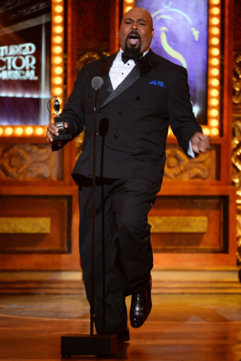 "James Monroe Iglehart accepts the award for Best Performance by an Actor in a Featured Role in a Musical for ""Aladdin"" 