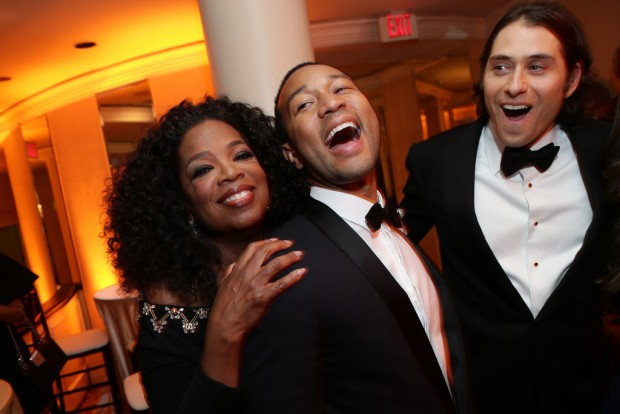 Oprah Winfrey, John Legend and Jeremy Kleiner attend the Paramount Pictures Golden Globes Post Party at The Beverly Hilton in Beverly Hills, California on Sunday, January 11, 2015 (Photo: Brandon Clark/ABImages); Sent to Reel Life With Jane and used with permission of Allied Integrated Marketing
