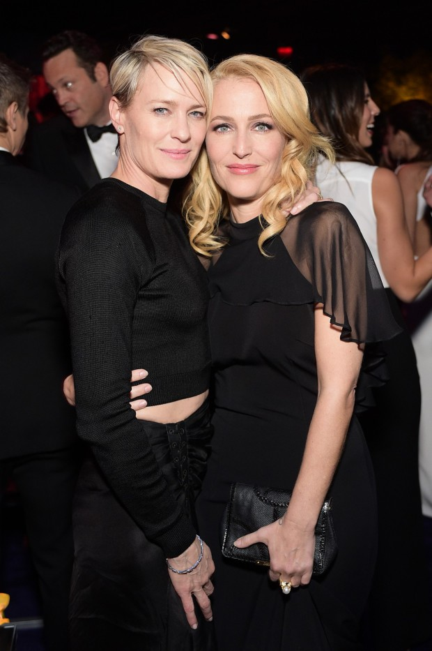 BEVERLY HILLS, CA - JANUARY 11:  Actresses Robin Wright and Gillian Anderson attend the 2015 InStyle And Warner Bros. 72nd Annual Golden Globe Awards Post-Party at The Beverly Hilton Hotel on January 11, 2015 in Beverly Hills, California.  (Photo by Stefanie Keenan/Getty Images for InStyle); Sent to Reel Life With Jane by and used with permission of Slate PR