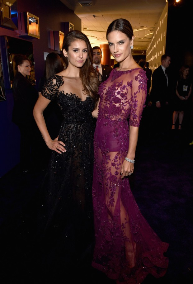 BEVERLY HILLS, CA - JANUARY 11: Actress Nina Dobrev and model Alessandra Ambrosio attend the 2015 InStyle And Warner Bros. 72nd Annual Golden Globe Awards Post-Party at The Beverly Hilton Hotel on January 11, 2015 in Beverly Hills, California.  (Photo by Michael Buckner/Getty Images for InStyle); Sent to Reel Life With Jane by and used with permission of Slate PR