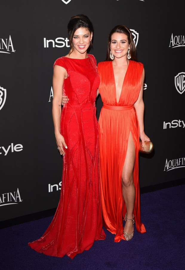 BEVERLY HILLS, CA - JANUARY 11:  Actresses Jessica Szohr (L) and Lea Michele attend the 2015 InStyle And Warner Bros. 72nd Annual Golden Globe Awards Post-Party at The Beverly Hilton Hotel on January 11, 2015 in Beverly Hills, California.  (Photo by Jason Merritt/Getty Images); Sent to Reel Life With Jane by and used with permission of Slate PR