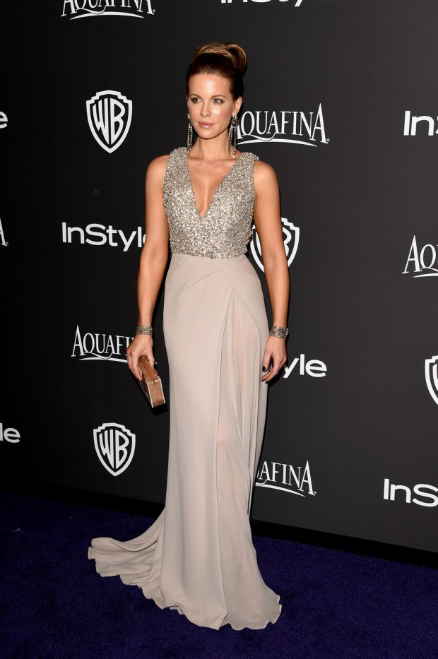 BEVERLY HILLS, CA - JANUARY 11:  Actress Kate Beckinsale attends the 2015 InStyle And Warner Bros. 72nd Annual Golden Globe Awards Post-Party at The Beverly Hilton Hotel on January 11, 2015 in Beverly Hills, California.  (Photo by Jason Merritt/Getty Images); Sent to Reel Life With Jane by and used with permission of Slate PR