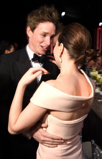 LOS ANGELES, CA - JANUARY 25:  Actors Eddie Redmayne (L) and Felicity Jones during TNT's 21st Annual Screen Actors Guild Awards at The Shrine Auditorium on January 25, 2015 in Los Angeles, California. 25184_014  (Photo by Dimitrios Kambouris/WireImage) via Image.net