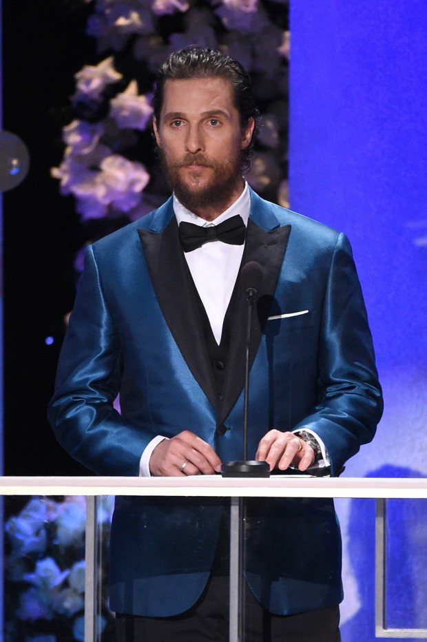 LOS ANGELES, CA - JANUARY 25: Actor Matthew McConaughey speaks onstage during TNT's 21st Annual Screen Actors Guild Awards at The Shrine Auditorium on January 25, 2015 in Los Angeles, California. 25184_019  (Photo by Michael Buckner/WireImage)