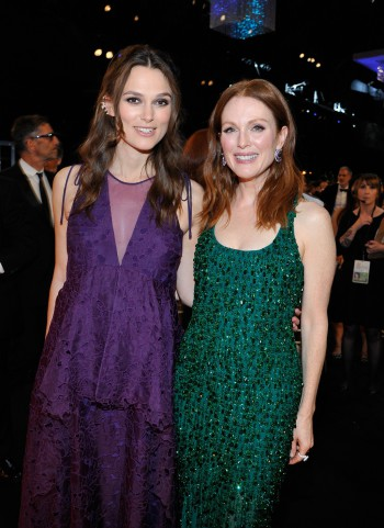 LOS ANGELES, CA - JANUARY 25:  Actresses Keira Knightley (L) and Julianne Moore attend TNT's 21st Annual Screen Actors Guild Awards at The Shrine Auditorium on January 25, 2015 in Los Angeles, California. 25184_015  (Photo by John Sciulli/WireImage) *** Local Caption *** Keira Knightley ,Julianne Moore