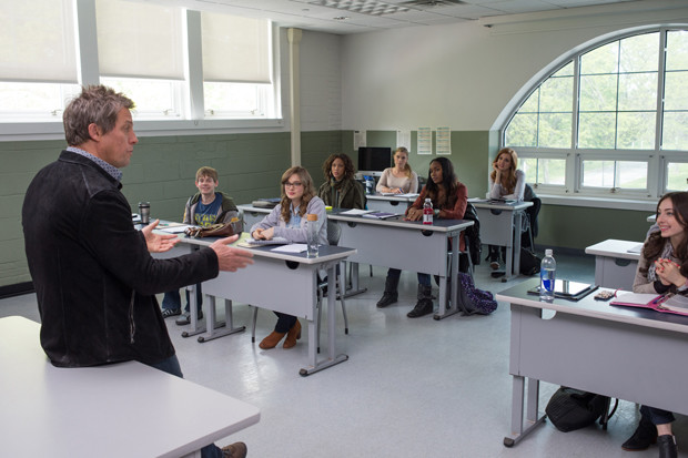 "Hugh Grant as a university instructor in ""The Rewrite"""