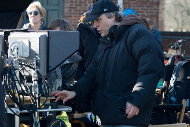 "Marc Lawrence on the set of ""The Rewrite"""