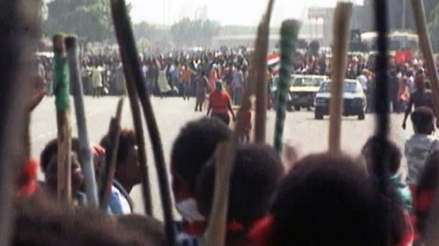"""A still from """"The Other Man"""" depicting tribal unrest in the Natal province in South Africa in 1990 