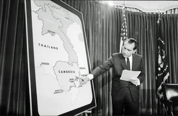 President Richard Nixon discusses expanding the war into Cambodia