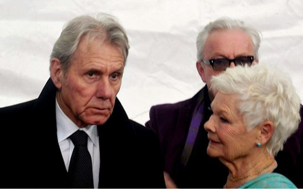 "Judi Dench and real-life love David Mills at the NYC premiere of ""The Second Best Marigold Hotel"" 