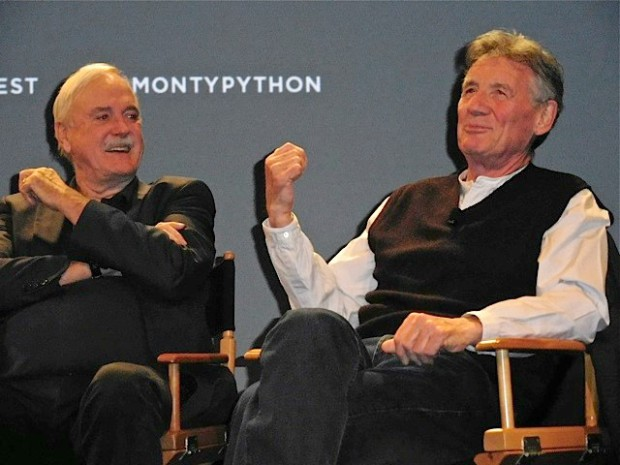 "John Cleese and Michael Palin at the Tribeca Film Festival screening of ""Monty Python and the Holy Grail"" 