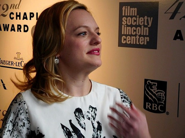 Elisabeth Moss at the Film Society of Lincoln Center's 42nd Chaplin Award, given to Robert Redford on April 27, 2015 | Paula Schwartz Photo
