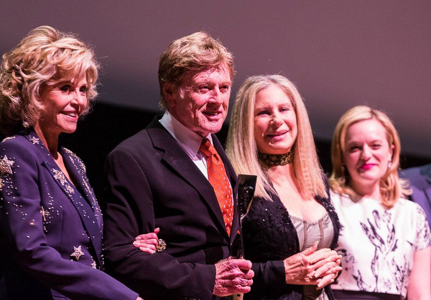Jane Fonda, Robert Redford, Barbara Streisand and Elisabeth Moss on April 27, 2015 when Redford was awarded the Film Society of Lincoln Center's 42nd Chaplin Award | TK Photo