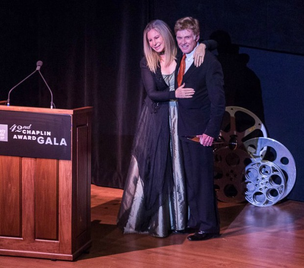 Barbra Streisand and Robert Redford on April 27, 2015 when Redford was awarded the Film Society of Lincoln Center's 42nd Chaplin Award | TK Photo