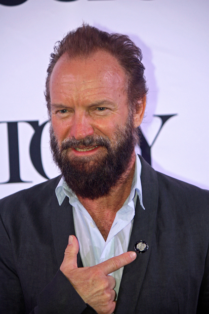 """Sting is nominated as the composer of """"The Last Ship."""" He pointed out his Tony Awards pin and said, """"This is all I'm gonna get."""" Since """"The Last Ship"""" did not last long, he's apparently not expecting to win in his category 