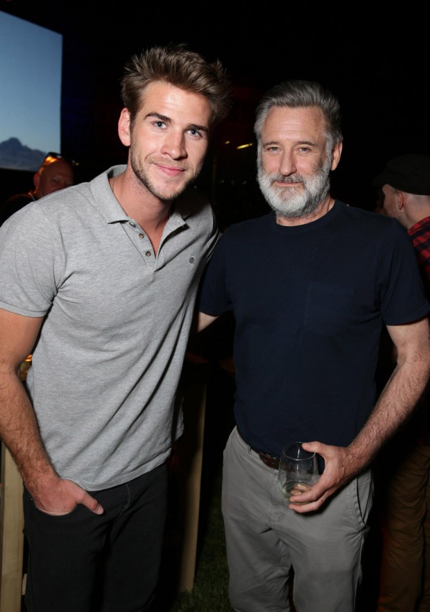 """EXCLUSIVE - Liam Hemsworth and Bill Pullman seen at the """"Independence Day Resurgence"""" Global Production Event on Monday, June 22, 2015, in Albuquerque, New Mexico. (Photo by Eric Charbonneau/Invision for Twentieth Century Fox/AP Images)"""
