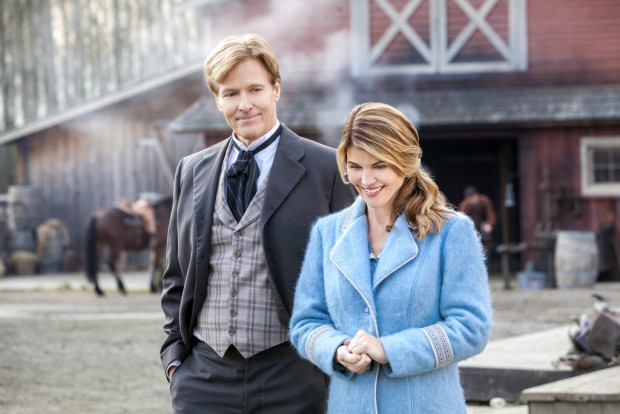 """Jack Wagner and Lori Loughlin in Season 2 of Hallmark Channel's """"When Calls the Heart""""   Copyright 2015 Crown Media United States, LLC/Photographer: Eike Schroter"""