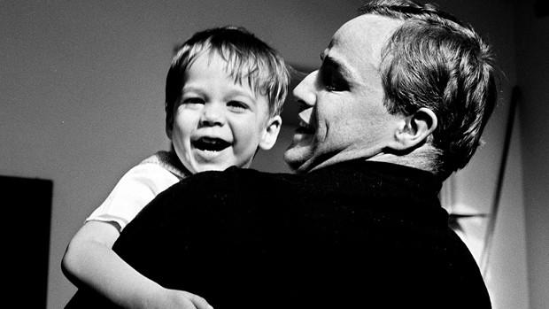 "Marlon Brando with his son in a still from ""Listen to Me Marlon"""