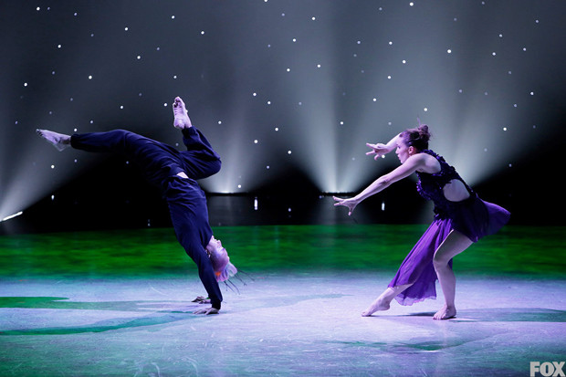 Jaime Goodwin and Hok Konishi perform the hummingbird and flower Jazz routine choreographed by Wade Robson.