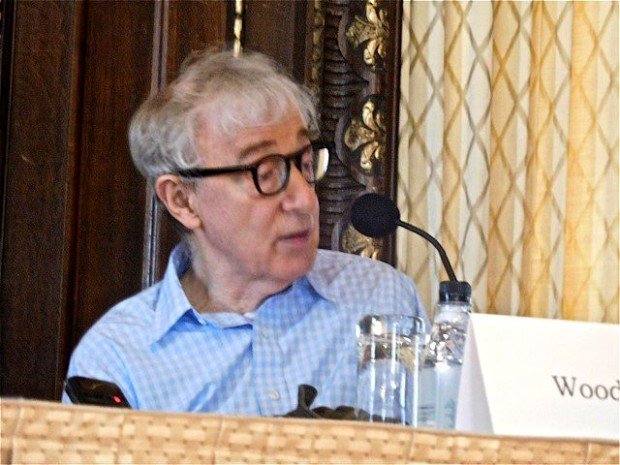 """Woody Allen at a press conference for """"Irrational Man"""" 