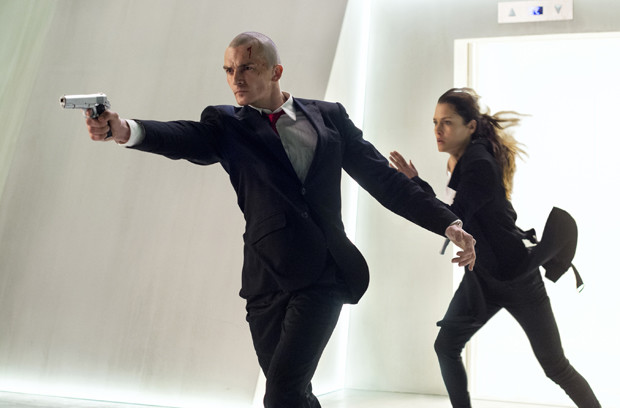 "Agent 47 (Rupert Friend) and Katia (Hannah Ware) are on the run in ""Hitman: Agent 47"" 
