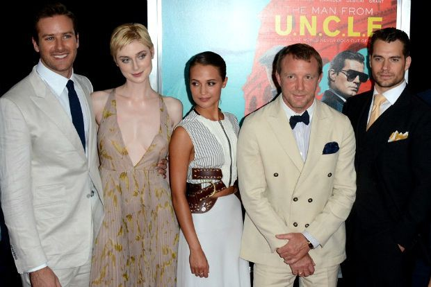 """The Cast with Director Guy Ritchie at the NY premiere of """"The Man from UNCLE"""" 