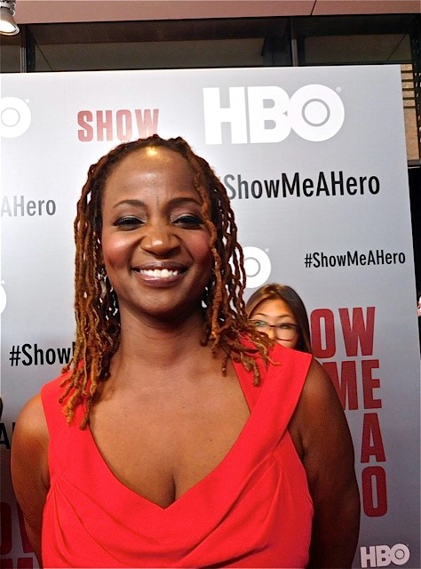 "Melanie Nicholls King at the red carpet premiere of HBO's ""Show Me a Hero"" 