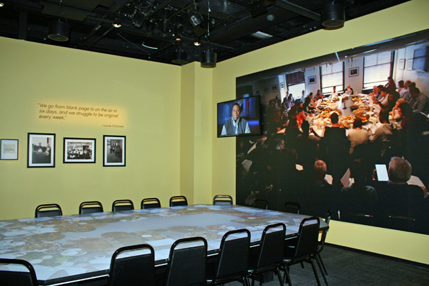 The writers' table at Saturday Night Live: The Exhibition | Melanie Votaw Photo