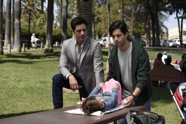 "GRANDFATHERED: (L-R) Jimmy (John Stamos) and Gerald (Josh Peck) in the ""Pilot"" episode of GRANDFATHERED series premiere airingTuesday, Sept. 29 (8:00-8:30 PM ET/PT) on FOX. ©2015 Fox Broadcasting Co. <div class="