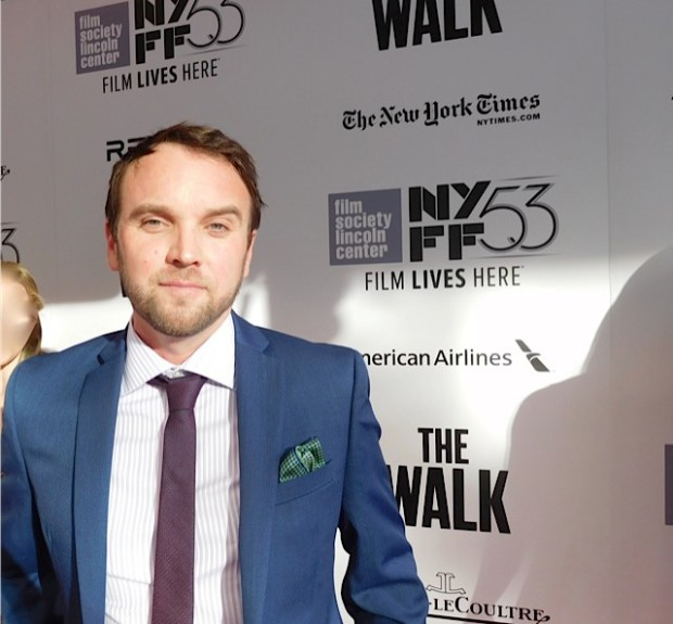"Screenwriter Christopher Browne at the NYFF Premiere of ""The Walk"" | Paula Schwartz Photo"