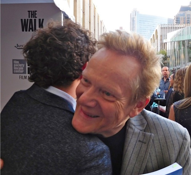 """Philippe Petit embracing Clement Sibony at the NYFF Premiere of """"The Walk"""" 